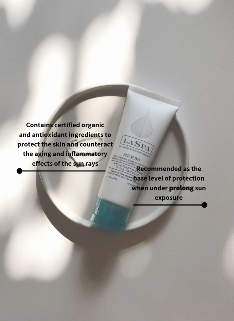 LASPA SPF30 Mineral Only Sunscreen featured on a round tray and surrounded by key benefits for using a certified organic-based mineral sunscreen daily.